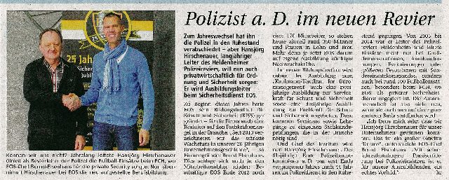Polizist a.D. im neuen Revier
