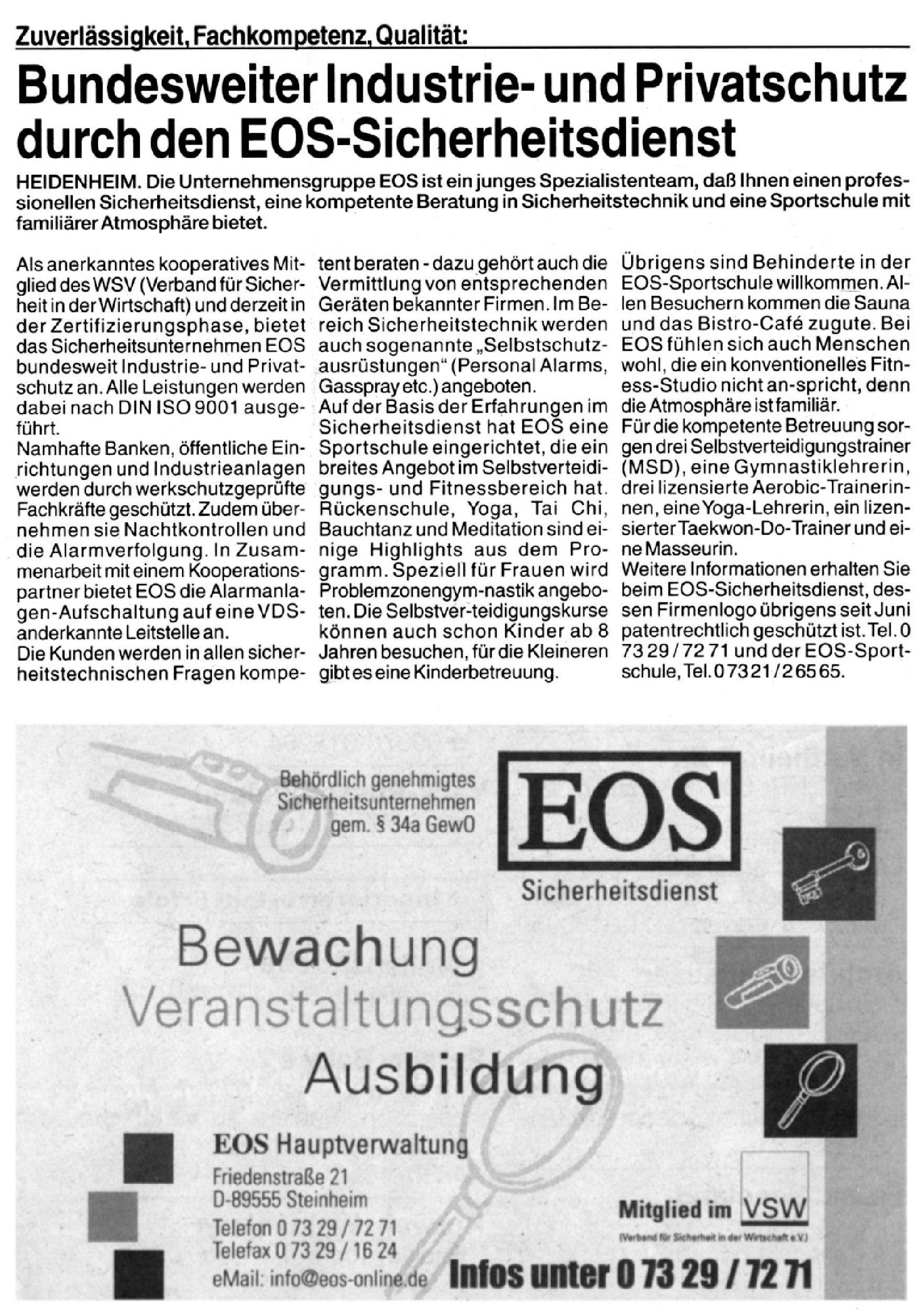 Bundesweiter Industrie- und Privatschutz durch EOS