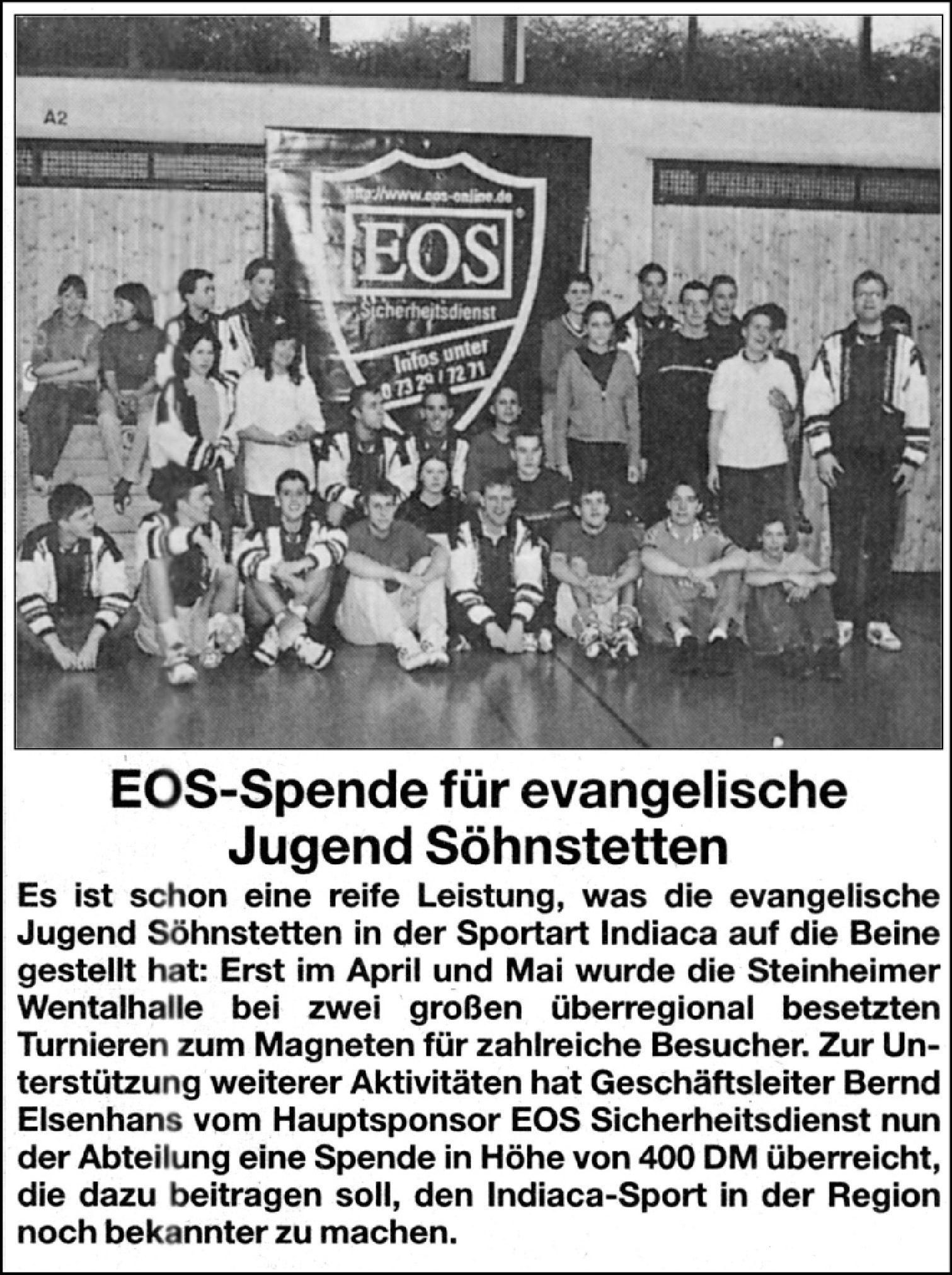 EOS-Spende für evang. Jugend Söhnstetten