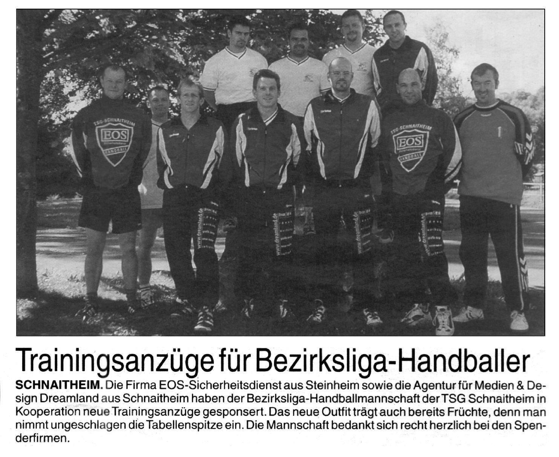 Sponsoring für Bezirksliga-Handballer