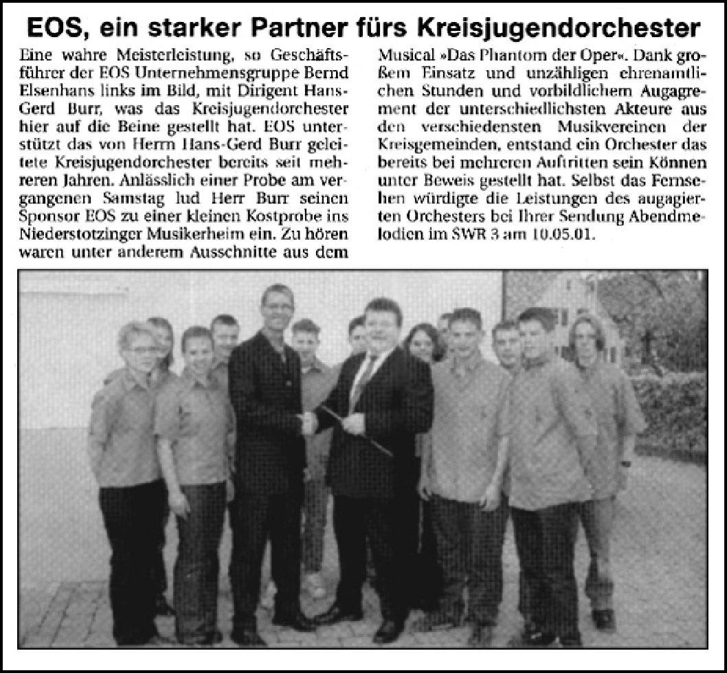 EOS, ein starker Partner fürs Kreisjugendorchester