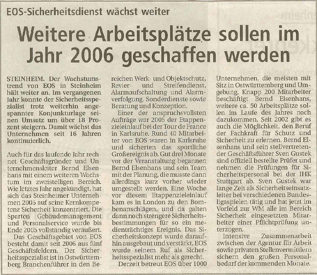 Weitere Arbeitsplätze sollen im Jahr 2006 geschaffen werden