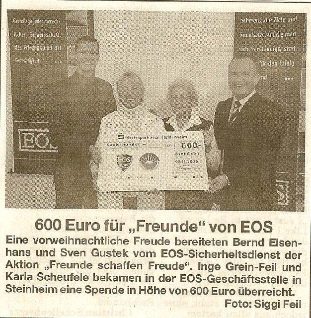 """600 Euro für """"Freunde"""" von EOS"""