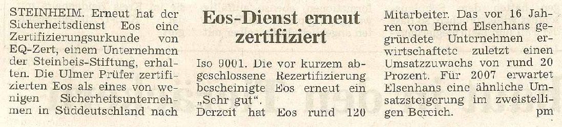 EOS-Dienst erneut zertifiziert