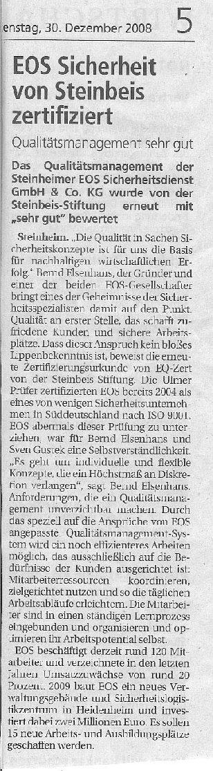 EOS Sicherheit von Steinbeis zertifiziert