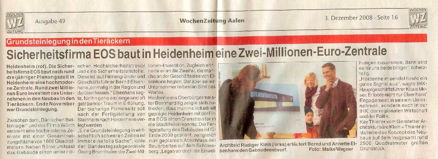 EOS baut Zwei-Millionen-Euro-Zentrale