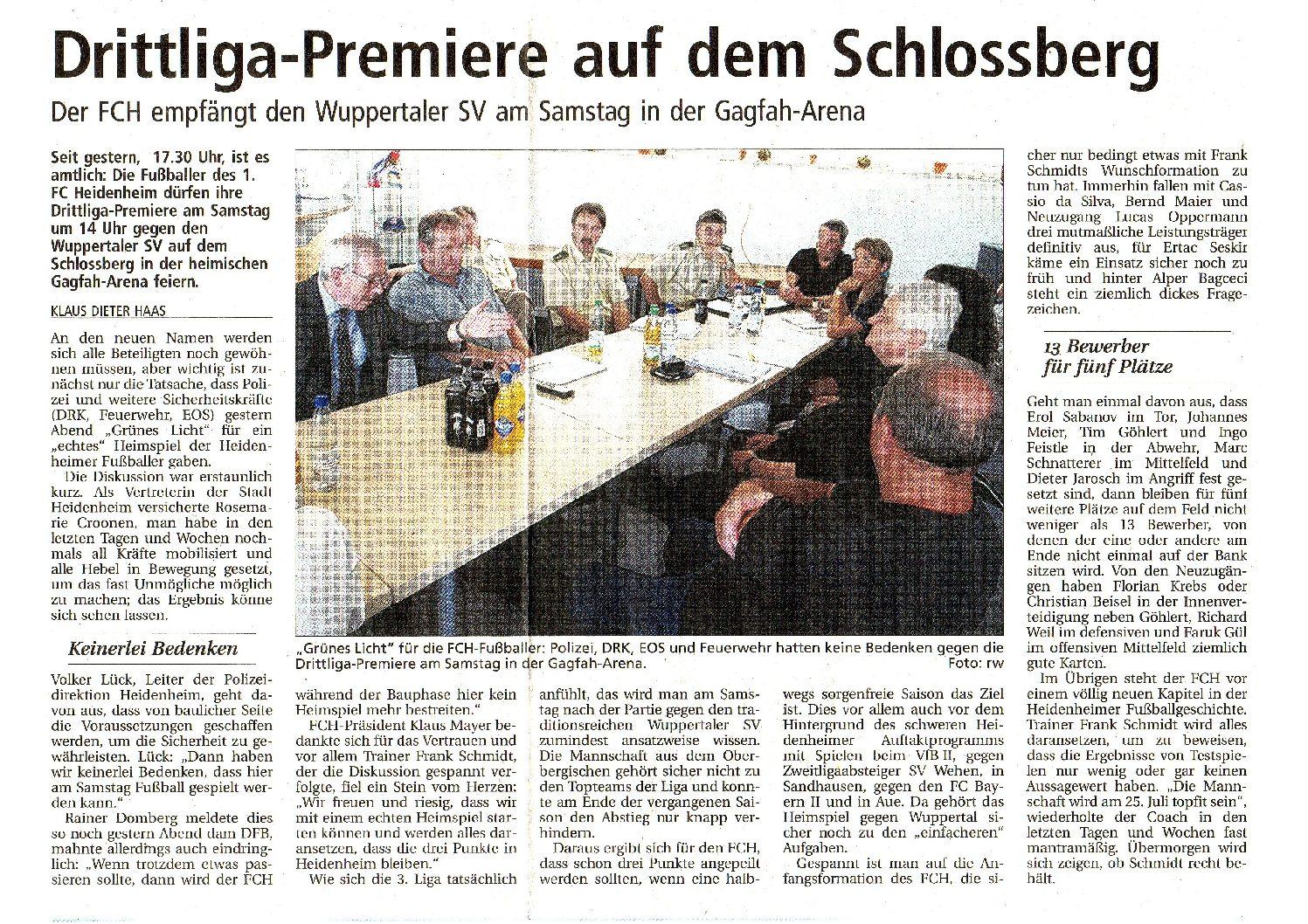 Drittliga-Premiere auf dem Schlossberg