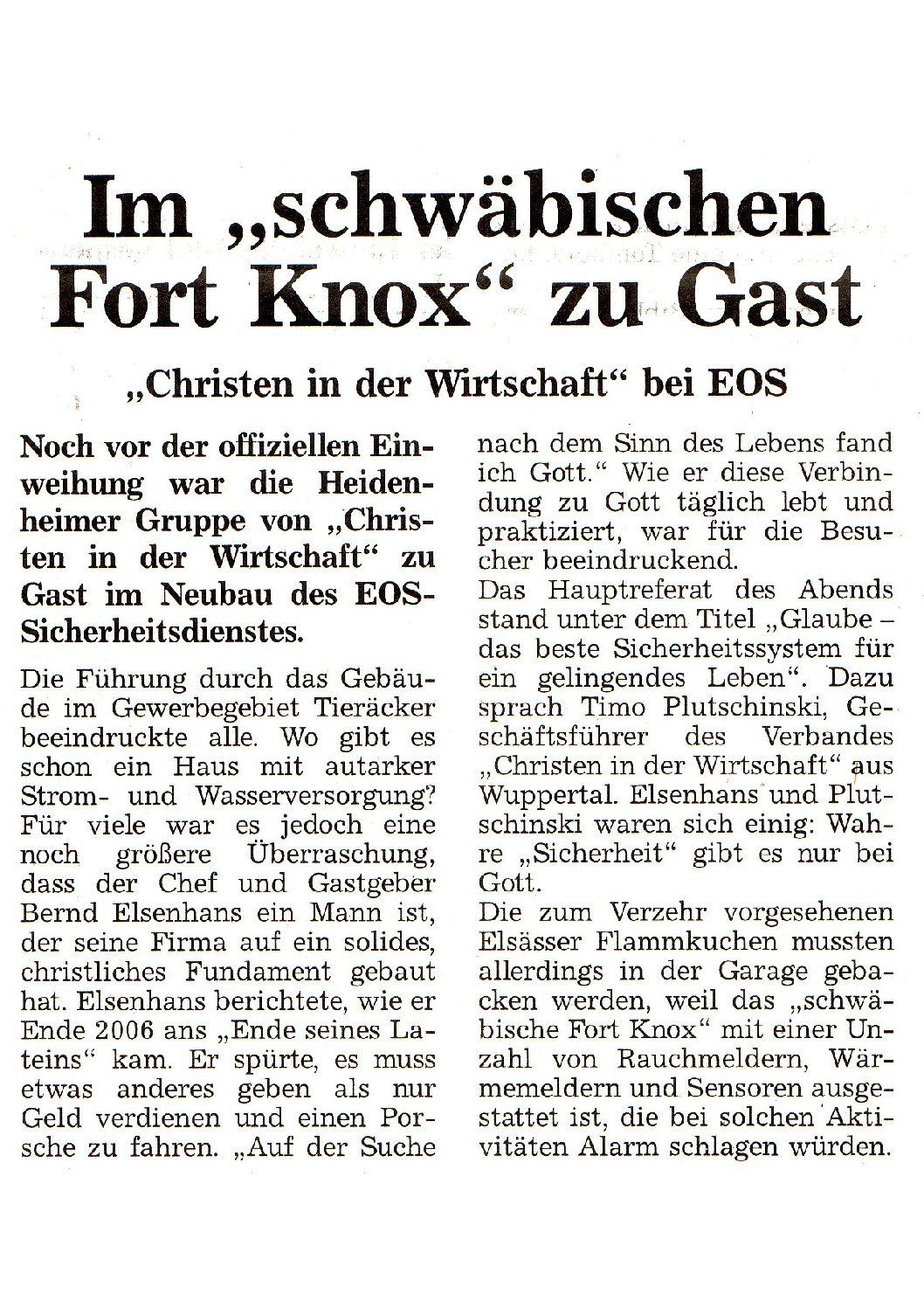 """Im """"schwäbischen Fort Knox"""" zu Gast"""