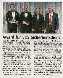 Award für EOS-Sicherheitsdienst