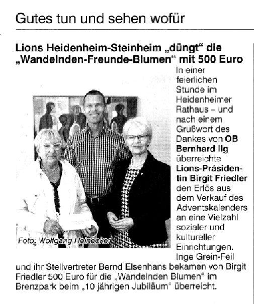 Spende vom Lions-Club Heidenheim-Steinheim
