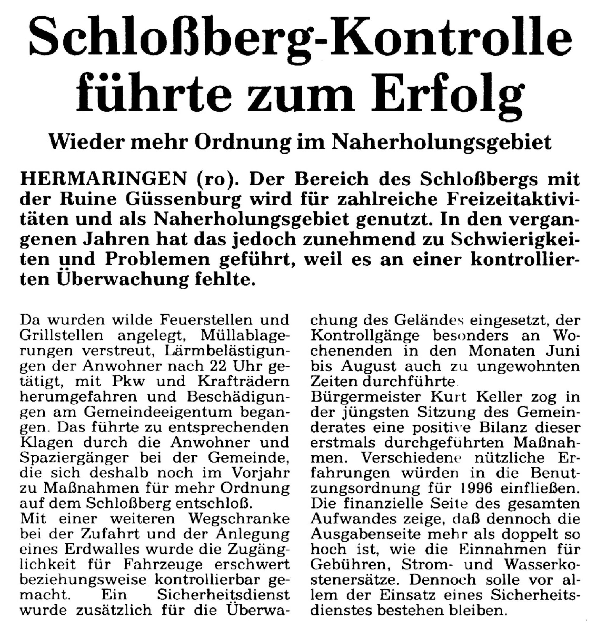 Schlossberg-Kontrolle führte zum Erfolg