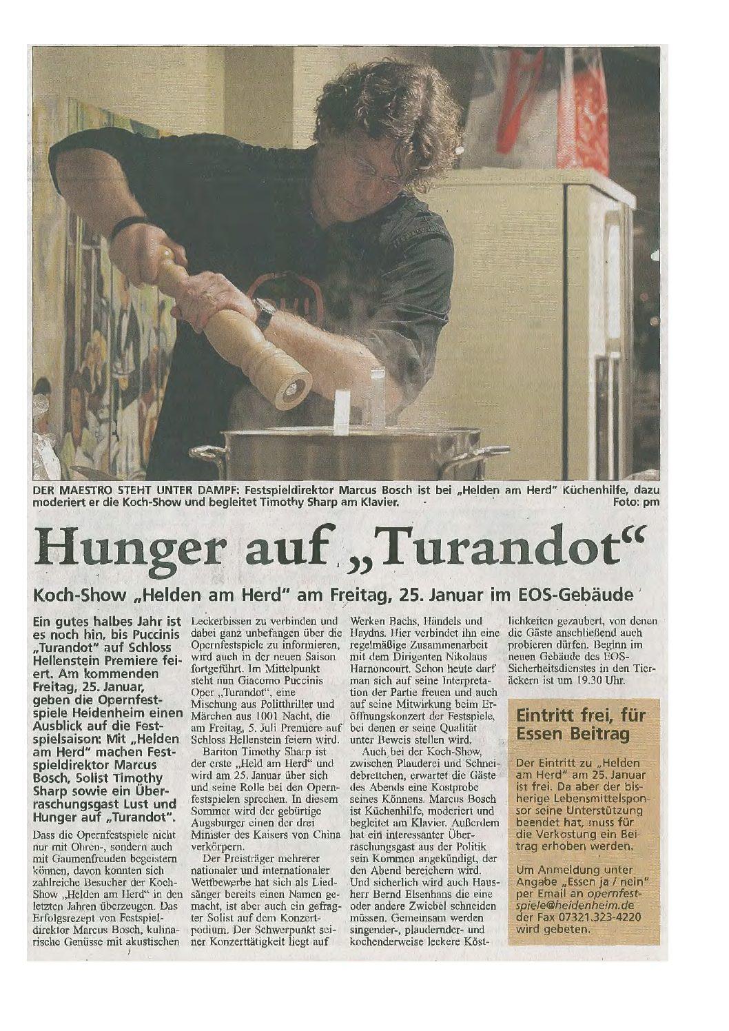 """Hunger auf Turandot"": Helden am Herd"