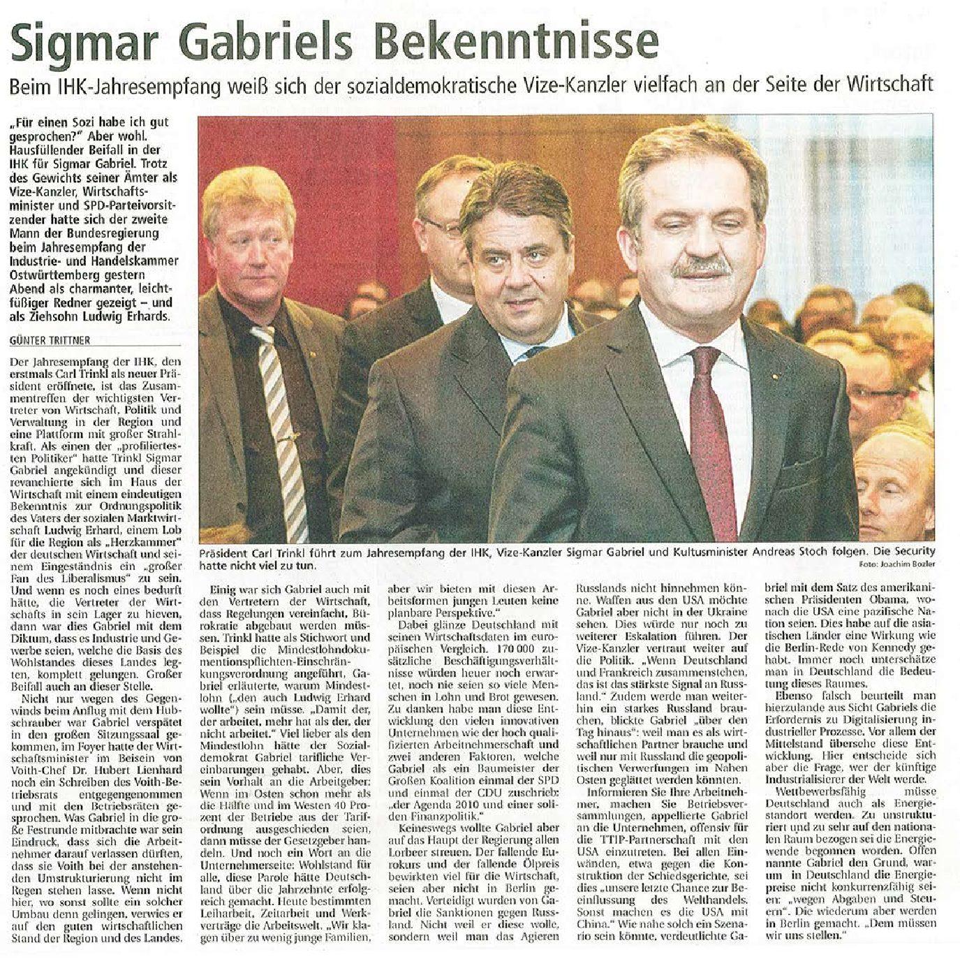 IHK-Jahresempfang mit Sigmar Gabriel