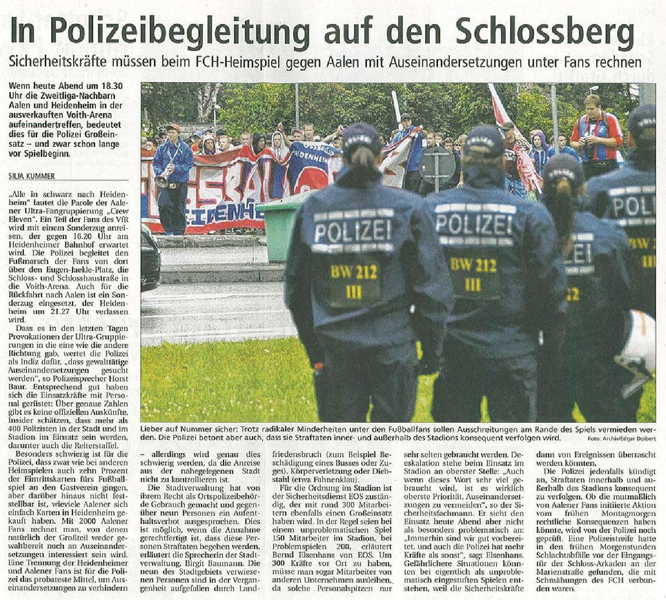 Polizeibegleitung beim FCH-Heimspiel