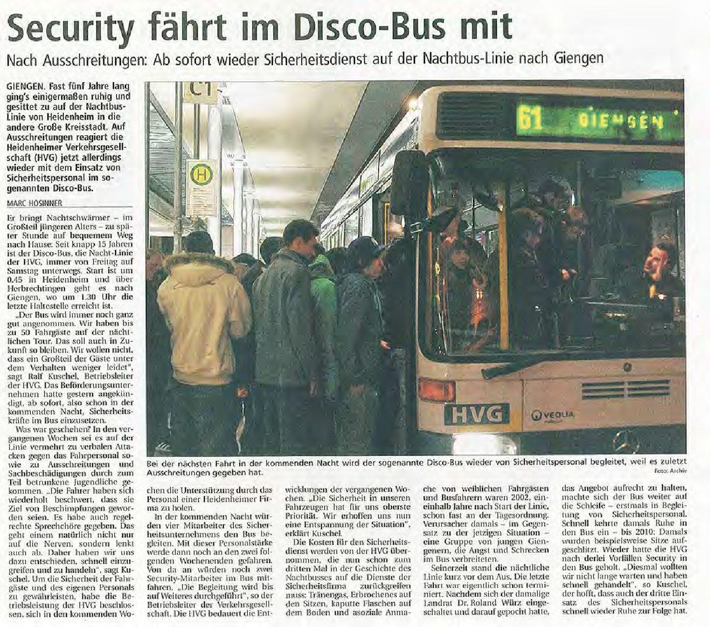 Security im Disco-Bus