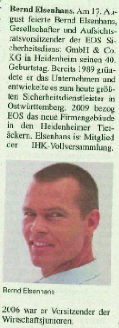 Personalia Bernd Elsenhans