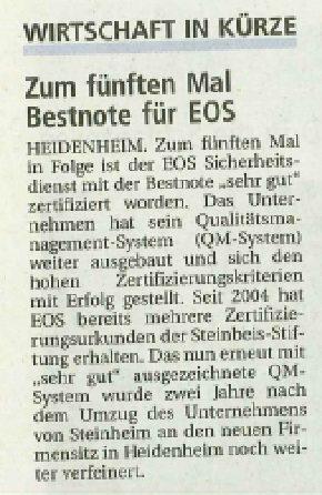 Zum fünften Mal Bestnote für EOS