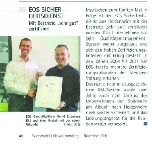 """Bestnote """"sehr gut"""" für EOS"""