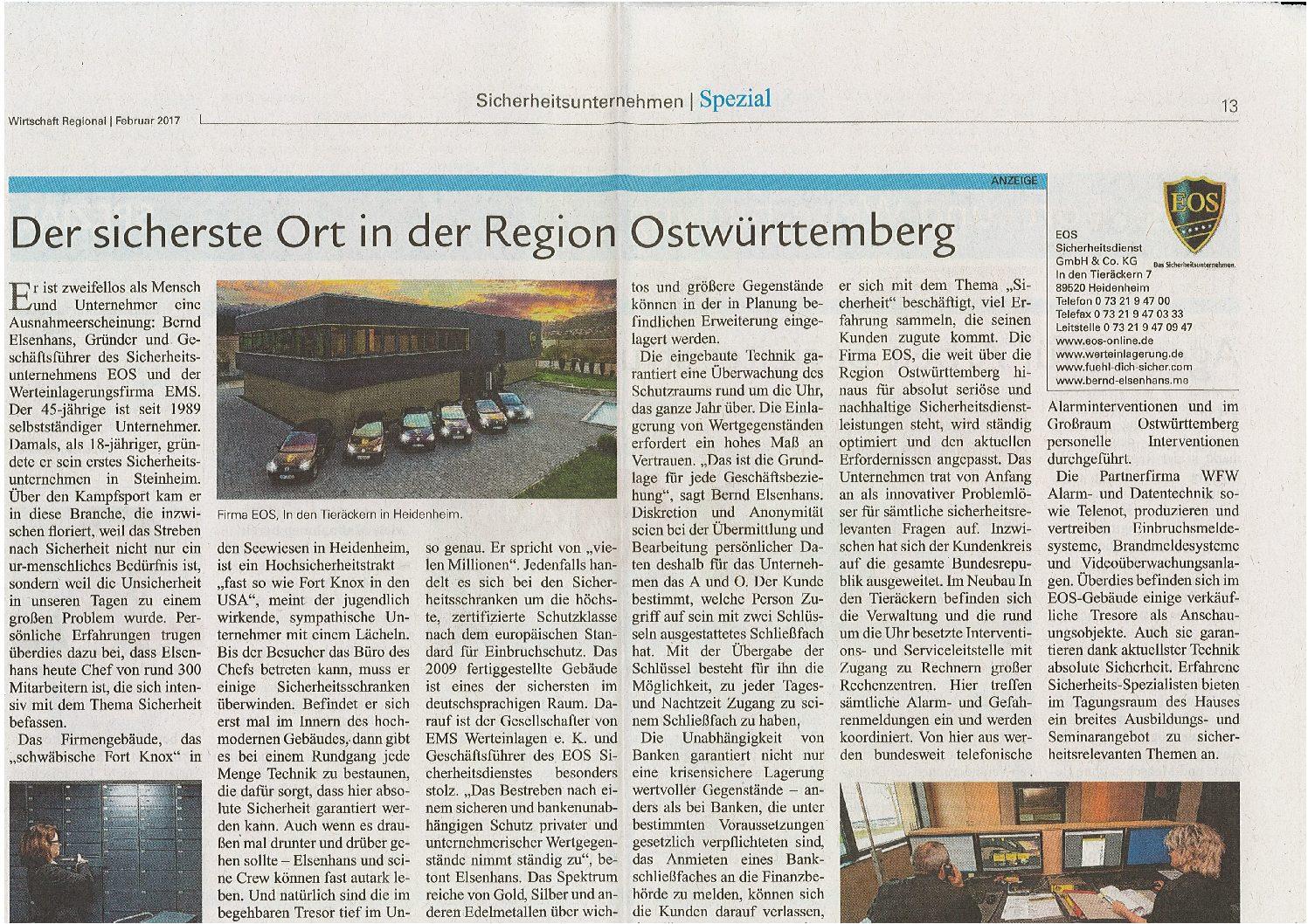 Der sicherste Ort in der Region Ostwürttemberg