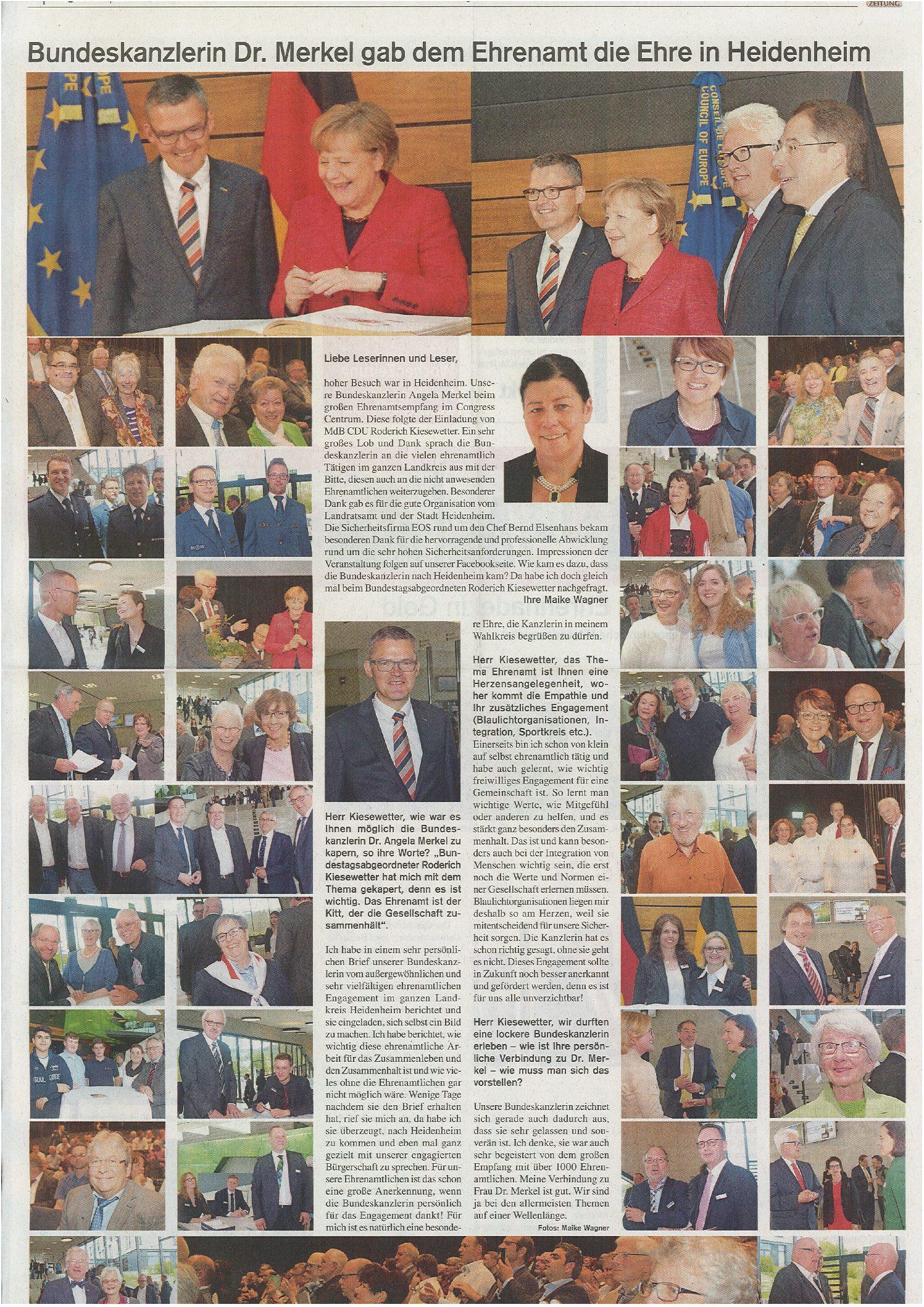Bundeskanzlerin Dr. Merkel gab dem Ehrenamt die Ehre in Heidenheim