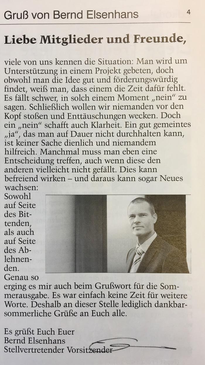 Arche – Gruß von Bernd Elsenhans