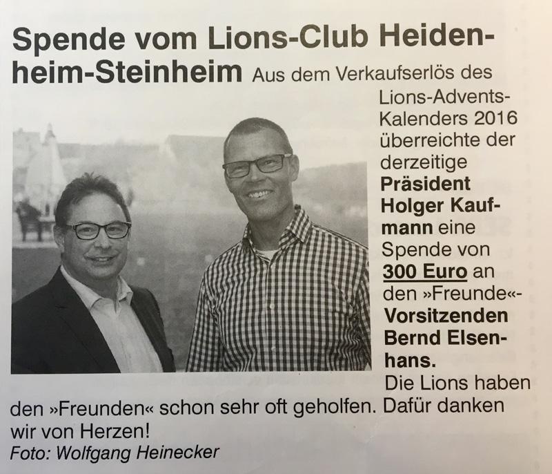 Spende von Lions-Club Heidenheim-Steinheim