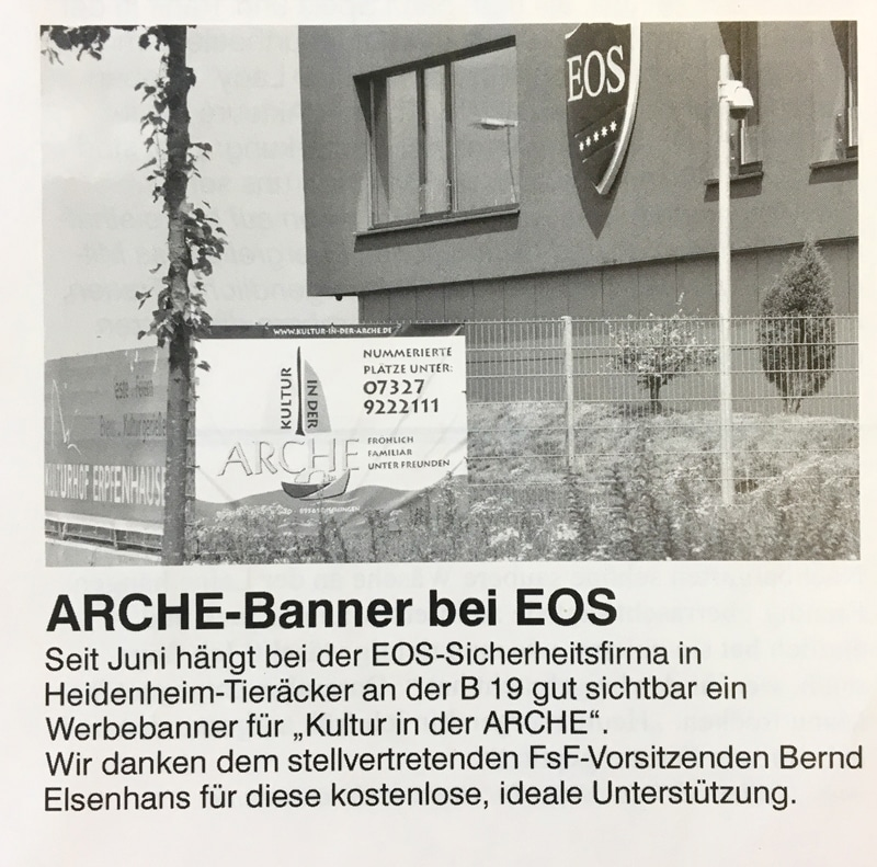 Arche-Banner bei EOS