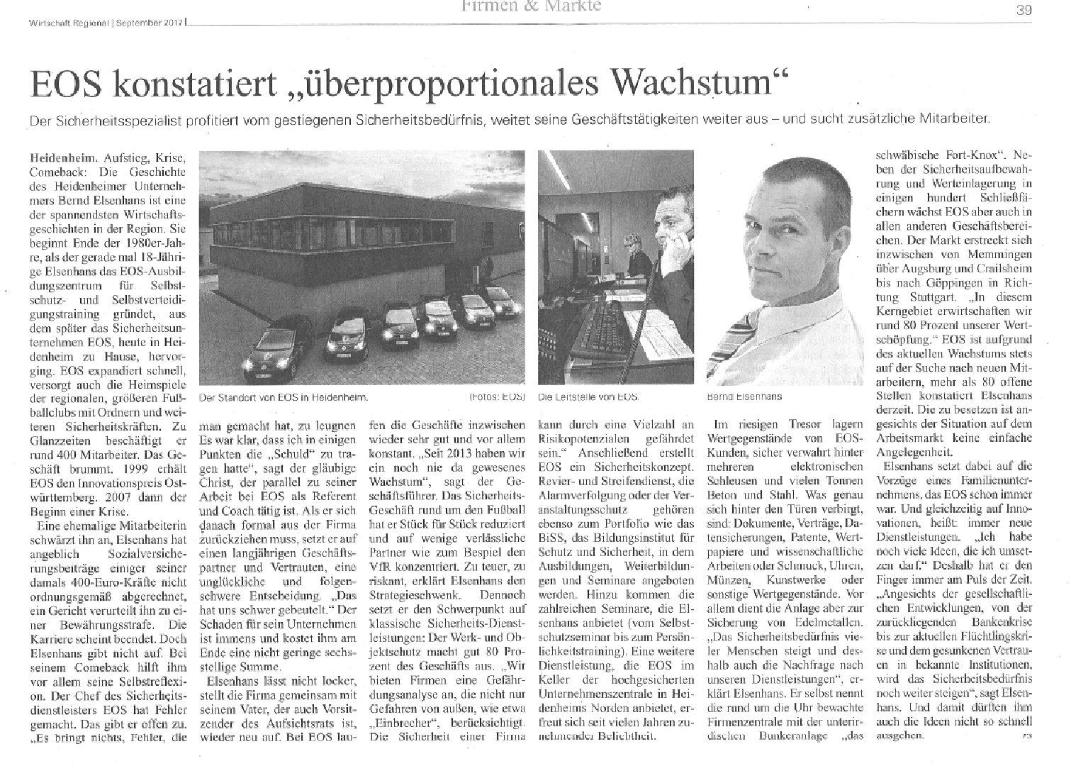 """EOS konstatiert """"überproportionales Wachstum"""""""