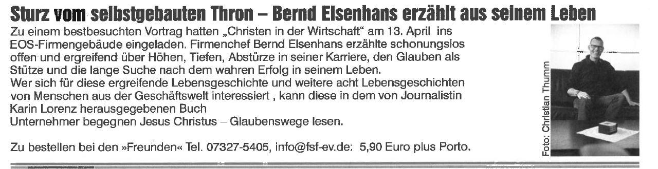 Bernd Elsenhans erzählt aus seinem Leben