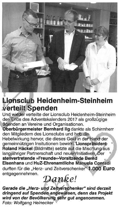 Lionsclub Heidenheim-Steinheim verteilt Spenden