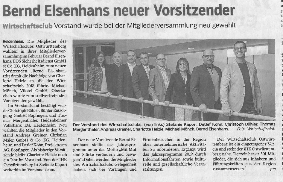 Bernd Elsenhans neuer Vorsitzender