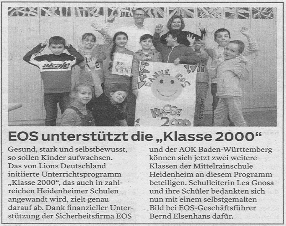 """EOS unterstützt die """"Klasse 2000"""""""