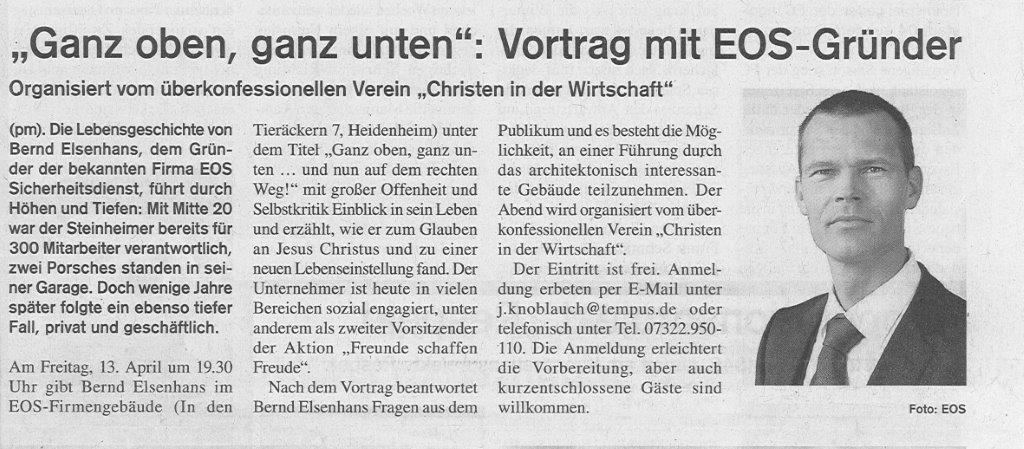 """""""Ganz oben, ganz unten"""": Vortrag mit EOS-Gründer"""