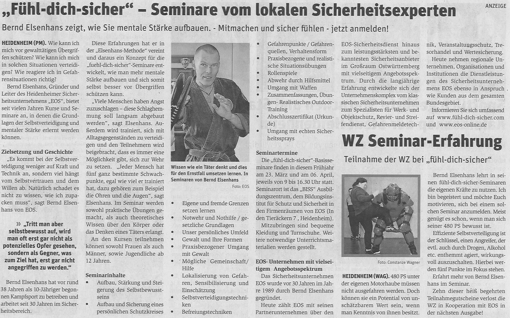 """""""Fühl-dich-sicher"""" – Seminare vom lokalen Sicherheitsexperten"""