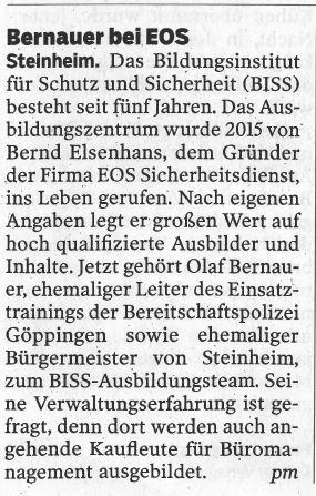 Bernauer bei EOS