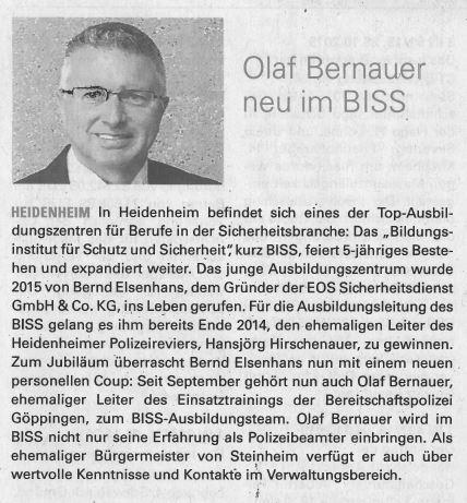 Olaf Bernauer neu im BISS